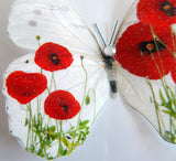 Poppies Remembrance day decorations,butterflies beautiful  3d butterflies for lounge,hall,conservatory,bedroom decor,wedding decorations