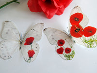 Red Poppy wall decor,3D Butterflies Poppies Home Accessories Bedroom Furniture Bathroom Mirror,window decoration,3d Poppy butterfly stickers