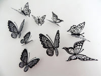 Black and white 3d butterflies stickers,wall art flying butterflies,wall nature decor,decorative