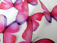 6 3d Realistic pink and purple Morpho butterflies,interior wall decal,butterfly home decor, conservatory, lounge, dining room, hall way
