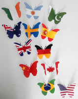 World flags decoration, 3D Butterfly, flags of the world 3d butterfly stickers, Unique to flutterframes, party, pub, bar, kitchen