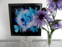 Framed 3D Bright Coloured Fluttering Butterflies Wall Art Picture,Floating butterflies abstract 3d art,bright art,colourful picture
