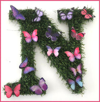 Personalised artificial grass letters with butterflies, hand crafted by Flutterframes, alternative to wooden flower,floral lettering