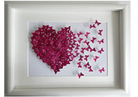 Anniversary 3d glitter picture,butterfly heart picture,pink made with lots of 3d butterflies,anniversary,wedding,mother,daughter