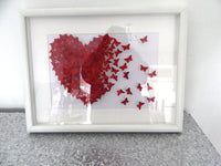 3d butterfly picture, Red  glitter butterflies, BESPOKE LUXURY ITEM,living room, bedroom,anniversary,wedding gift,anniversary,engagement
