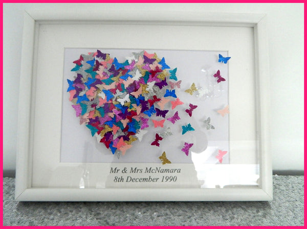 Wedding 3d glitter picture, butterfly heart picture,multi-coloured hand crafted made with lots of 3d butterflies