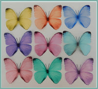 Set of 9 Pastel coloured butterflies, 3d wall stickers,great for girl's bedroom,bathroom,lounge,kitchen,tiles,conservatory,wall decor