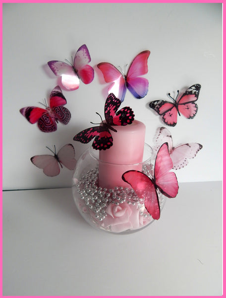 Pink collection of natural butterflies, 3d butterflies wall decor, bespoke butterfly wall stickers for use in the garden,conservatory,lounge
