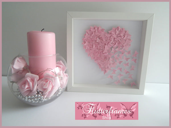Anniversary, wedding butterfly heart personalised picture pink, glitter heart with lots of tiny butterflies unique hand crafted