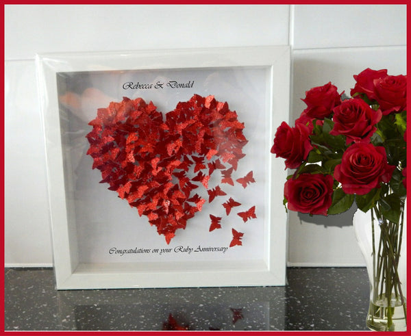 Ruby Anniversary picture, Wedding day ideas, Red heart picture unique hand crafted