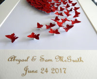 Red 3d butterfly picture, Red  glitter butterflies, BESPOKE LUXURY ITEM,living room, bedroom,anniversary,wedding gift,anniversary,engagement