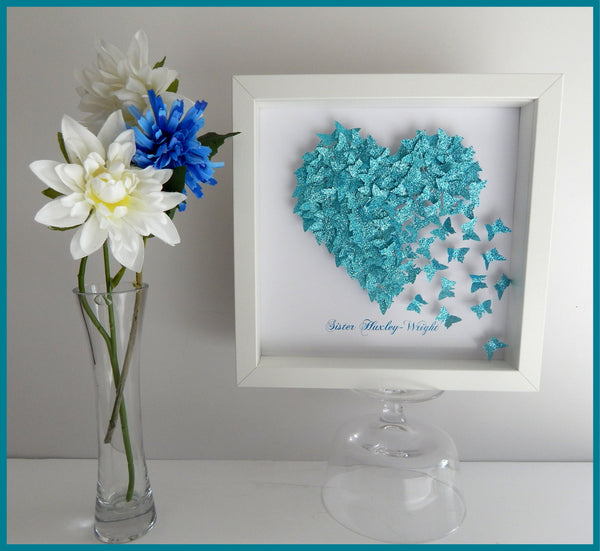 Anniversary, wedding butterfly heart personalised picture,Teal / Turquoise, glitter heart with lots of tiny butterflies unique hand crafted