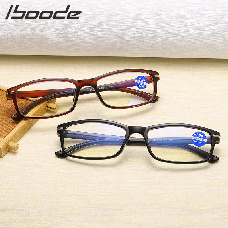IBOODE TR90 Reading Glasses Men Anti Blue Rays Presbyopia Eyeglasses Anti Fatigue Computer Eyewear solid glasses finished