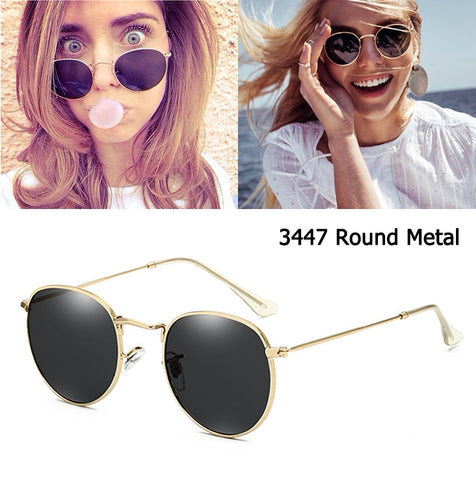 Luxury brand  3447 Round Metal Style Mirror  Sunglasses Men Women Vintage Retro Brand Design Sun Glasses Oculos De Sol