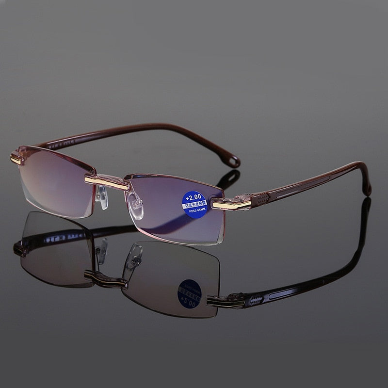 Ultralight Rimless Reading Glasses Women Men Transparent Blue Light Blocking Frameless Computer Glasses Presbyopia Reader 1.5 2.
