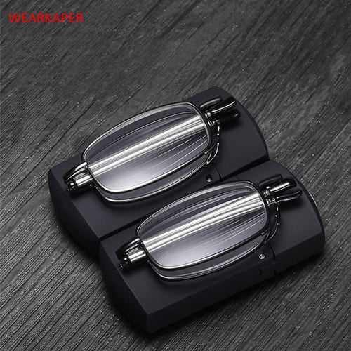 New Titanium alloy Anti-UV Folding Reading Glasses Men Women Rotating Optical Computer Mini Wallet Glasses Diopter 1.0-4.0