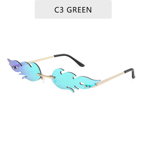 Luxury Fashion Fire Flame Sunglasses Women  Rimless Wave Sun Glasses Metal Shades For Vintage Women Mirror Eyewear UV400