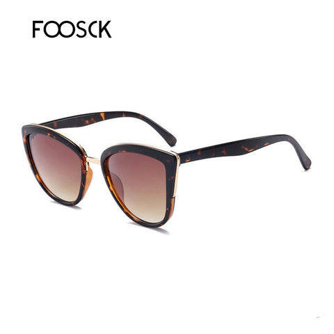 FOOSCK Cat Eye Sunglasses Women Brand Designer Vintage Gradient Sexy Retro Cateye Sun glasses Female Eyewear UV400
