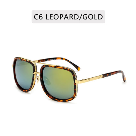 New Fashion Big Frame Sunglasses Men Square  Metal Sun Glasses Women Retro Sun Glasses Vintage High Quality Gafas Oculos De Sol