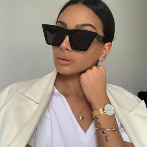 2019 new brand sunglasses Square glasses  Personalized cat eyes Colorful sunglasses trend versatile sunglasses uv400 curtain