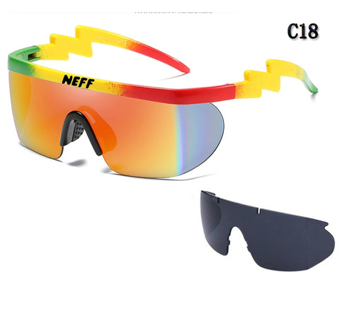 2 Lens Gafas Feminino New Fashion Brand Neff Sunglasses Vintage Sun Glasses Coating Eyewear Driving Men/Women Oculos De Sol