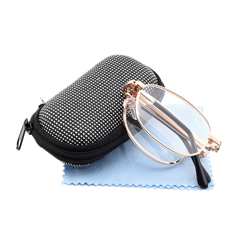 Metal Frame With Box Presbyopic Foldable Eyeglass Eyewear Unisex  Folding Reading Glasses For Men Women