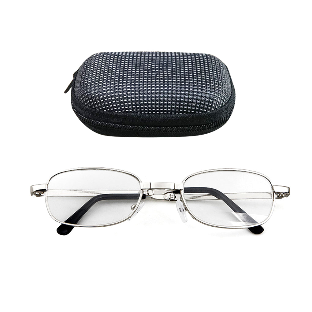 Portable Folding Metal Reading Glasses Presbyopic Magnifying Glasses Eyewear with Case 100/150/200/250/300/350/400 degree lens