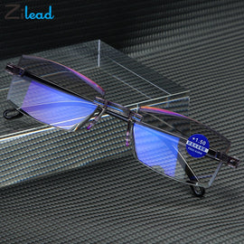 Zilead Reading Glasses Men Anti Blue Rays Presbyopia Eyeglasses Antifatigue Computer Frameless with +1.5+2.0 +2.5 +3.0 +3.5 +4.0