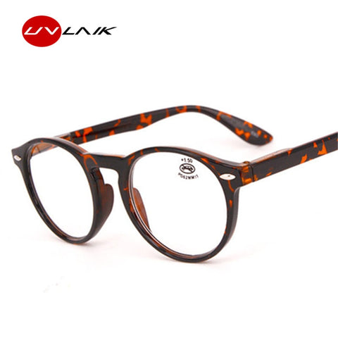 UVLAIK Fashion Round Reading Glasses Men Women Retro Red Blue Black Spectacles Eyeglasses Vintage Ultralight Glasses Frame