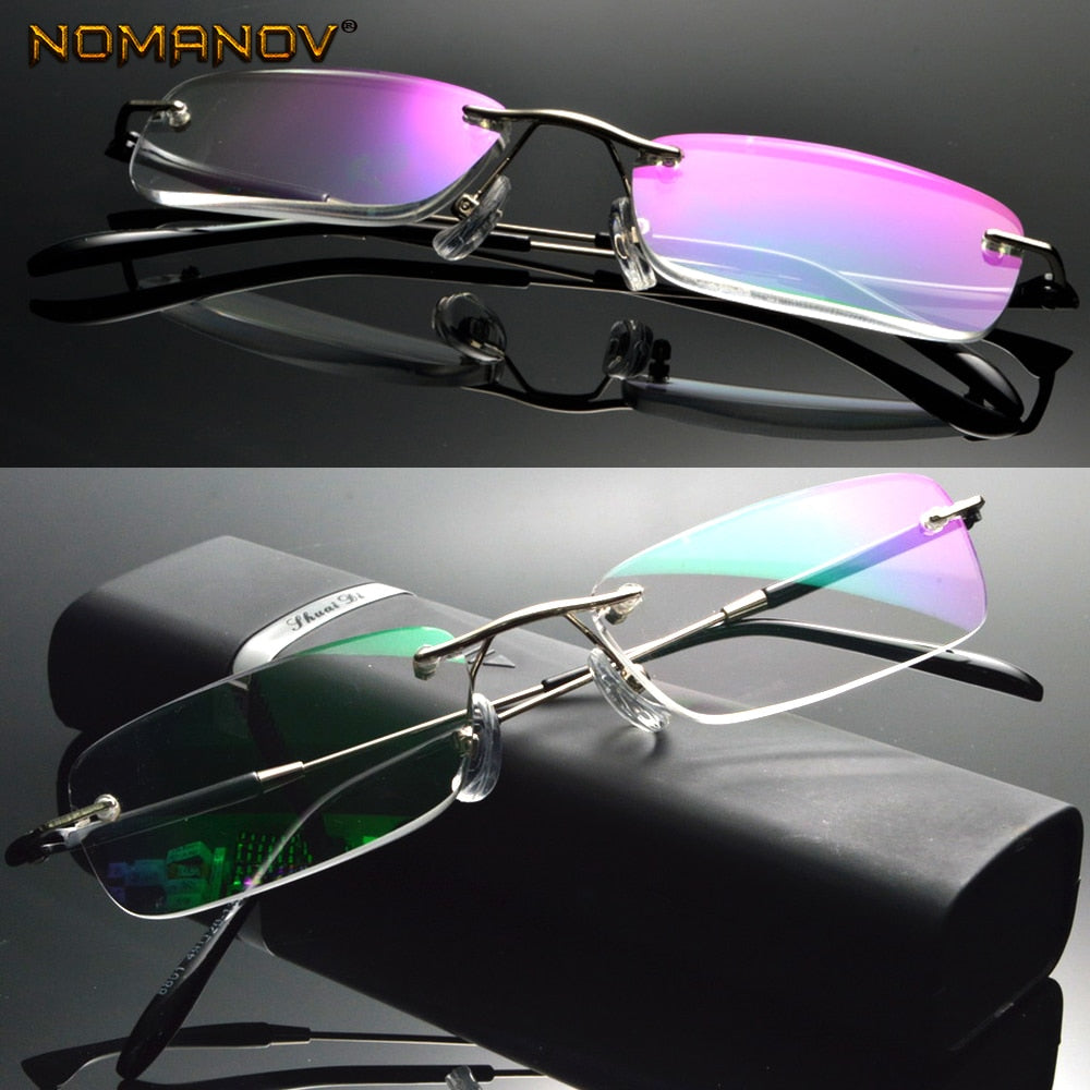 Anti blue light Coated Lenses Business Rimless Frameless Ultra-light Portable Reading Glasses + Box +0.75 +1 +1.5 +1.75 +2 To +4