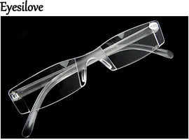 Eyesilove Unisex New Presbyopia +1.00-+4.00 Diopter Eyeglasses Clear Rimless Reading Glasses transparent clear