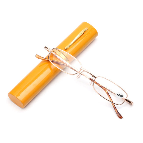 Unisex Reading Glasses with Pen Tube Case Portable Presbyopic Glasses Metal Case Spring Hinge Eyeglasses Vision Care +1.00~+4.00