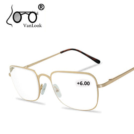 Reading Glasses Men Women +450 +500 +550 +600 +650 +700 +750 +800 Stainless Steel Glass Eyewear Gafas de Lectura Cheap