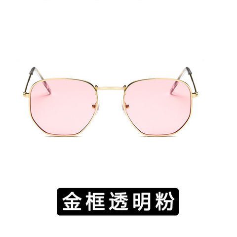 Women Retro Polygonal Tinted Color Lens Sunglasses 2019 Fashion Cute Sexy Eye Vintage Pink Lenses Square Sun Glasses