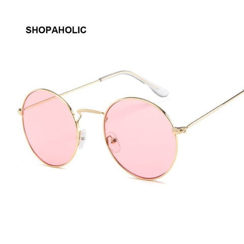 Vintage Classic Metal Round Sunglasses Women Small New Prince Retro Brand Red Orange Pink Clear Glasses Women Shades UV400
