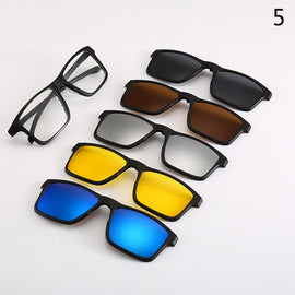 6pcs/1set Ultra-light Polarized Clip On Sunglasses Men Women Magnetic Eyewear Eyeglass Frames Optical Glasses Frame TR90