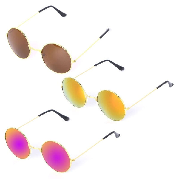 Men Women Retro Vintage Round Mirrored Sunglasses Eyewear Outdoor Sports Glasses Driver Goggles