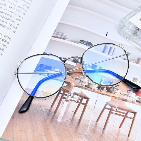 Fashion Retro Cat Ear Glasses Women Glasses Lens Frame Round Glasses Female Eyewear Frame Driver Goggles Car Accessories