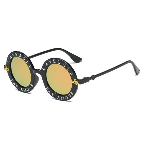 Little bee personality letter glasses round sunglasses street shooting sunglasses tide fan men and women ink