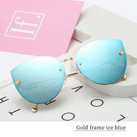 Luxury Lady Cat Eye Sunglasses Driver Goggles Fashion Sexy Women Sunglasses Big Box Vintage Gradient Sun Glasses For Female