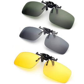 Polarized Clip On Sunglasses Driving Night Vision Lens Sun Glasses Male Anti-UVA  For Men Women With Case & Glasses Cloth