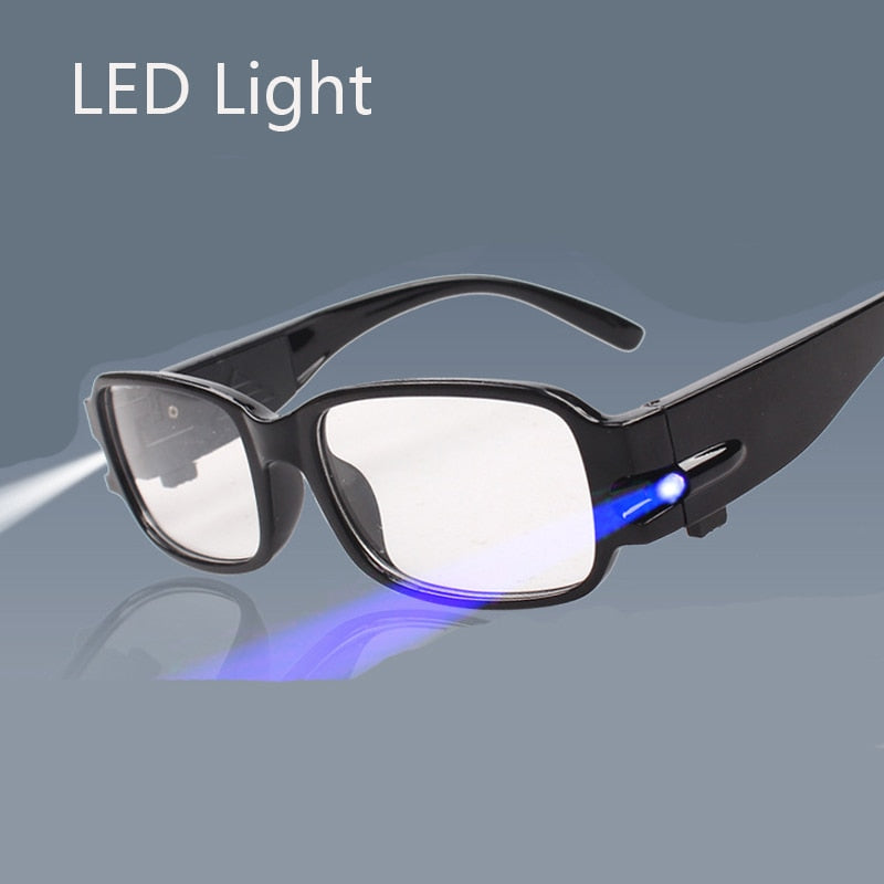 LED Light Reading Glasses Clear Occhiali Da Lettura +1.00 +1.50 +2.00 +2.50 +3.00 +3.50 +4.00 Diopter Night Presbyopic Glasses