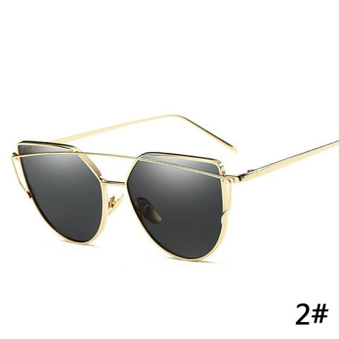 Car Driver Goggles Cat Eye Vintage Brand Designer Rose Gold Mirror Sunglasses for Women Metal Reflective Flat Lens Sun Glasses