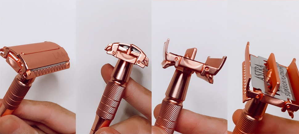 twist to open to add your safety razor blade