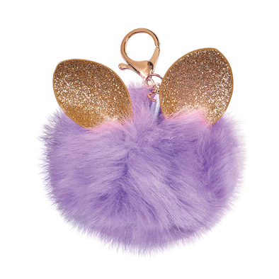 Purple Glitter Ears Furry Pom Clip