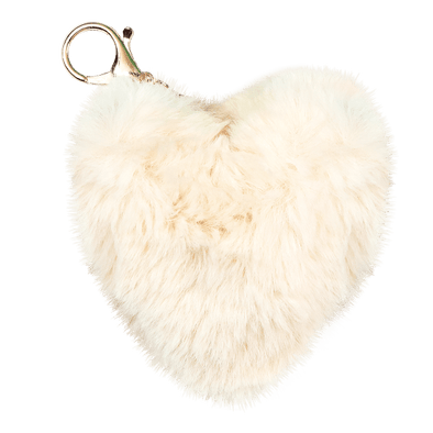 White Heart Furry Pom Clip