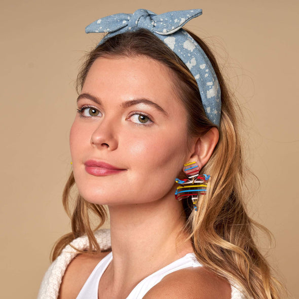 Slim Denim Bow Tie Headband