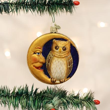Owl in Moon Ornament
