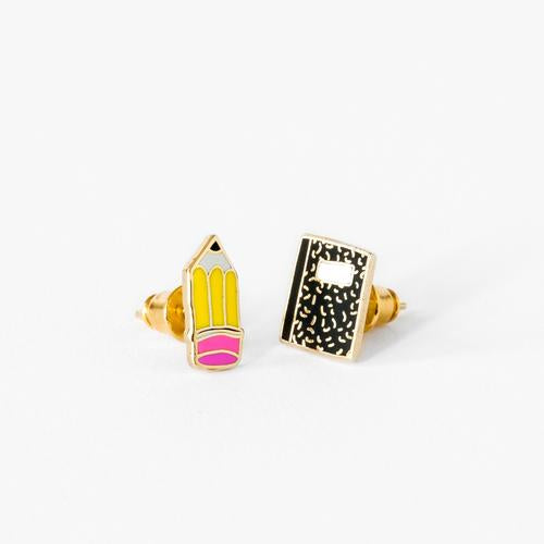 Yellow Owl Pencil & Notebook Earrings