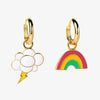 Yellow Owl Rainbow & Cloud Hoop Earrings